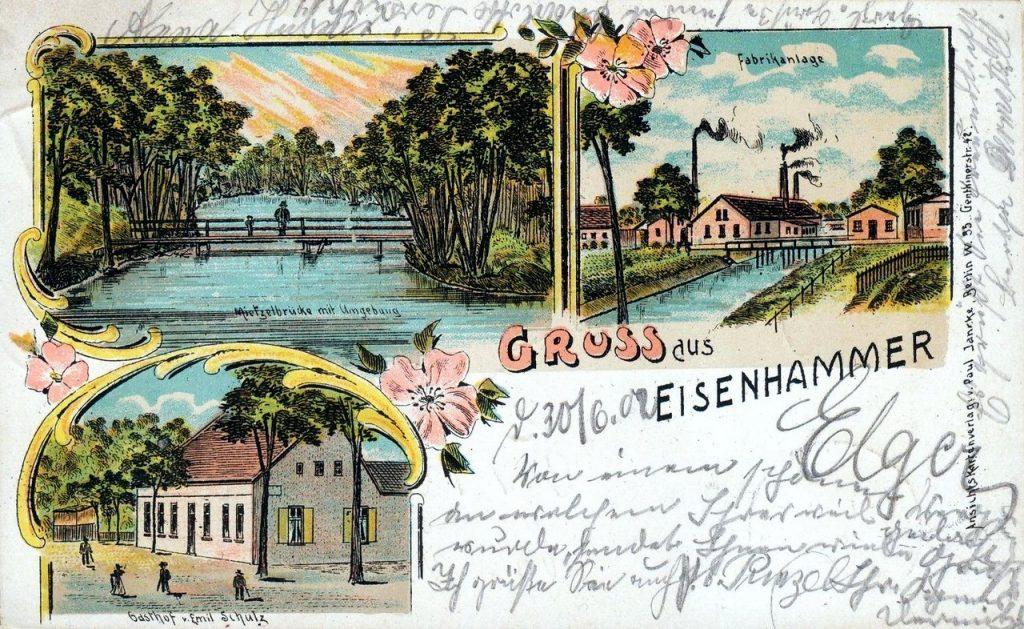 Most na rzece Myśli, walcownia, zajazd - Reczyce rok 1902