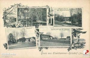 Rzeka Myśla, walcownia, leśniczówka, restauracja – właściciel E. Schulz– Reczyce